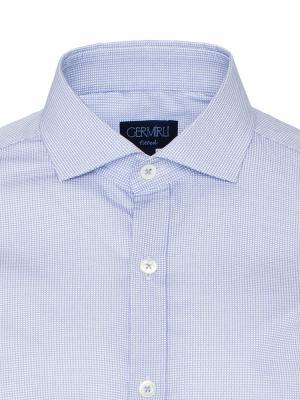 Germirli - Germirli Mavi Beyaz Micro Desenli Klasik Yaka Tailor Fit Gömlek (1)