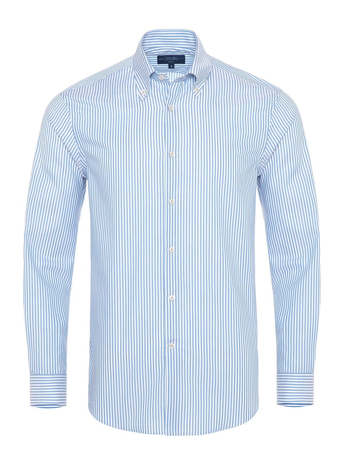 Germirli - Germirli Mavi Beyaz Panama Çizgili Düğmeli Yaka Tailor Fit Gömlek