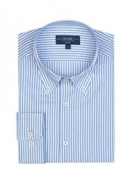 Germirli - Germirli Mavi Beyaz Panama Çizgili Düğmeli Yaka Tailor Fit Gömlek (1)