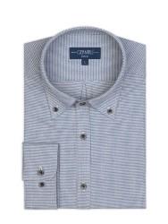 Germirli - Germirli Mavi Beyaz Pied De Poule Desenli Düğmeli Yaka Tailor Fit Gömlek (1)