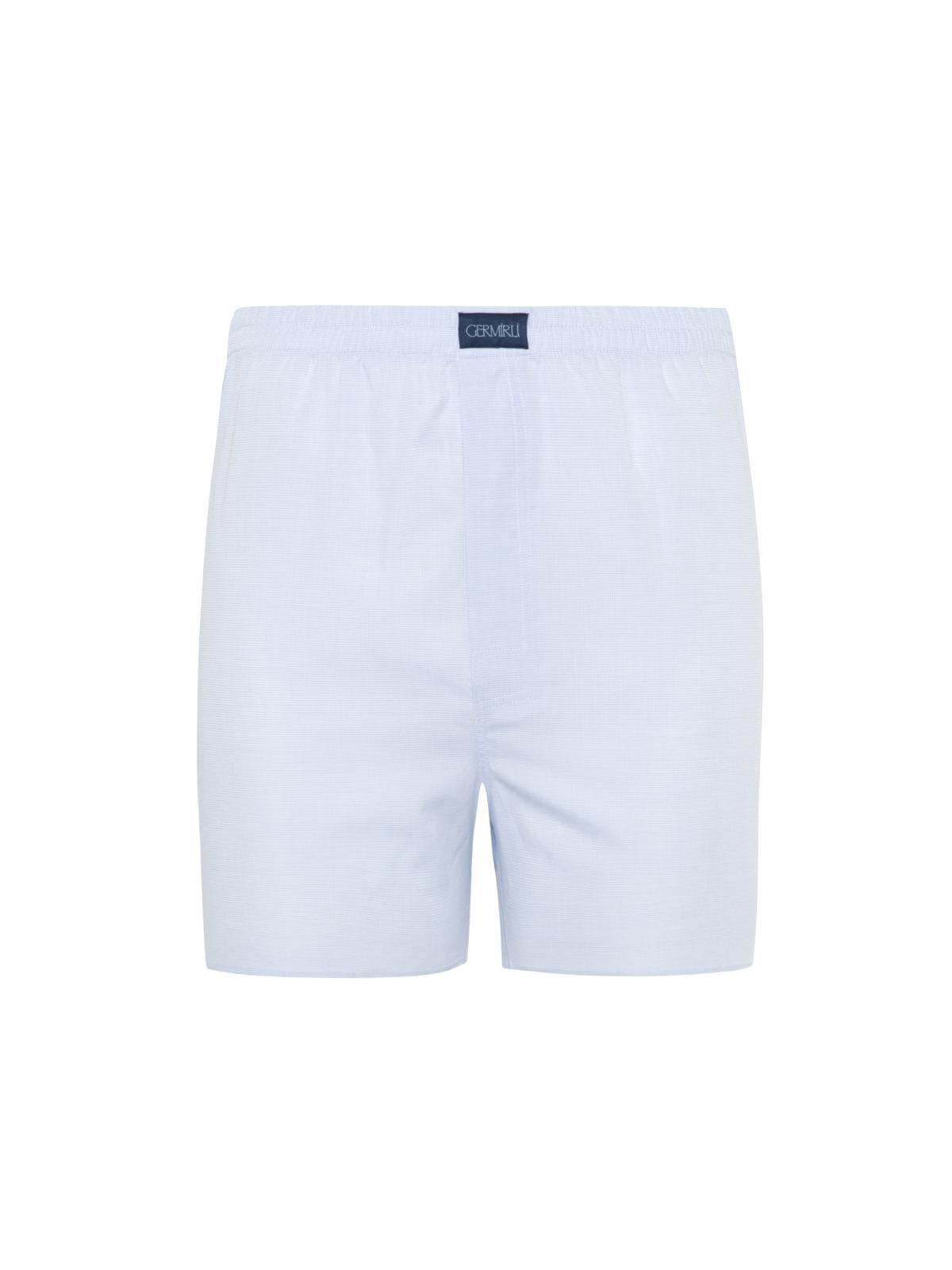 Germirli - Germirli Mavi Beyaz Piti Kareli Pamuk Boxer Şort