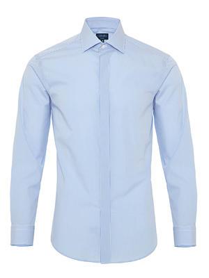 Germirli - Germirli Mavi Beyaz Puanlı Gizli Pat Klasik Yaka Tailor Fit Gömlek