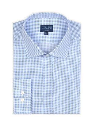 Germirli - Germirli Mavi Beyaz Puanlı Gizli Pat Klasik Yaka Tailor Fit Gömlek (1)