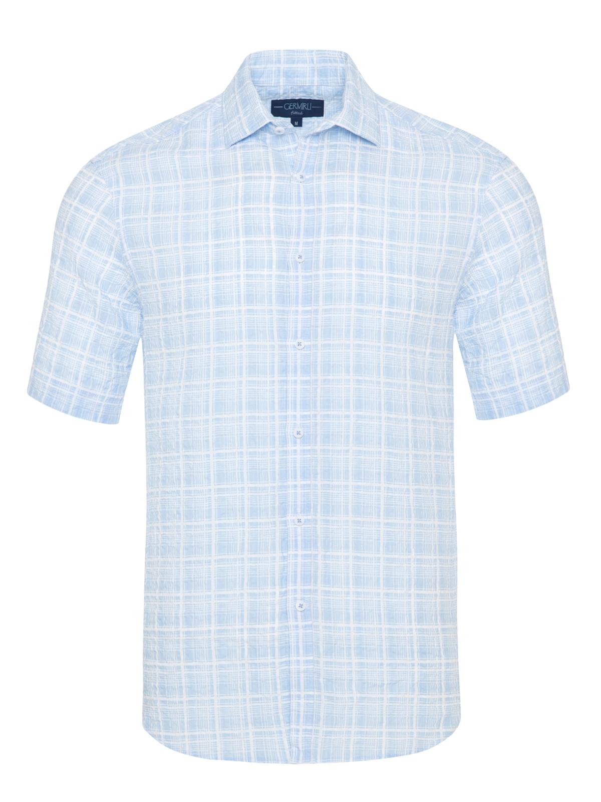 Germirli - Germirli Mavi Beyaz Seersucker Keten Kısa Kollu Tailor Fit Gömlek
