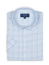 Germirli - Germirli Mavi Beyaz Seersucker Keten Kısa Kollu Tailor Fit Gömlek (1)