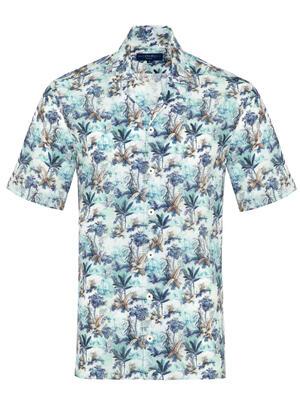 Germirli - Germirli Mavi Çiçek Desenli Hawaii Kısa Kollu Tailor Fit Gömlek