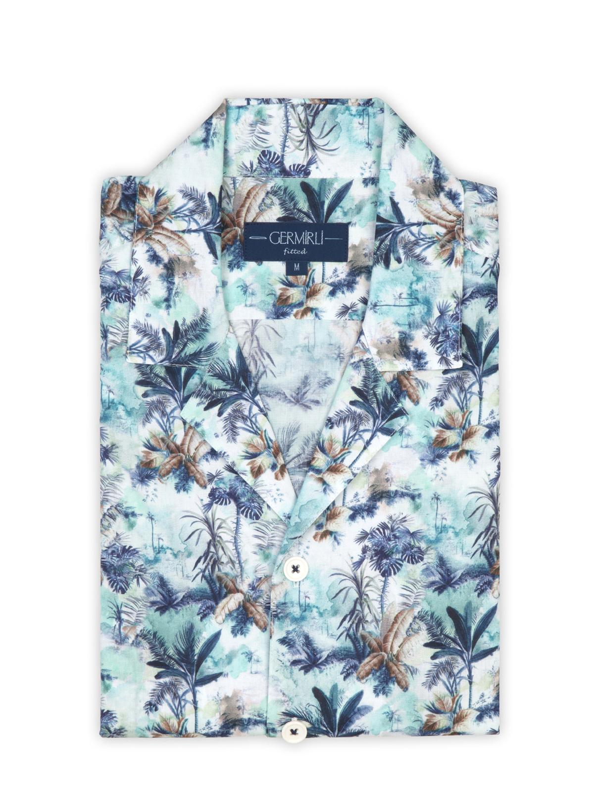 Germirli Mavi Çiçek Desenli Hawaii Kısa Kollu Tailor Fit Gömlek