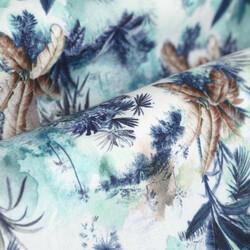 Germirli Mavi Çiçek Desenli Hawaii Kısa Kollu Tailor Fit Gömlek - Thumbnail