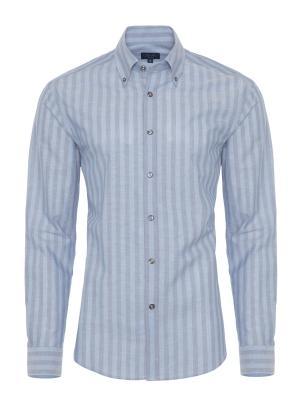 Germirli - Germirli Mavi Çizgili Keten Düğmeli Yaka Tailor Fit Gömlek