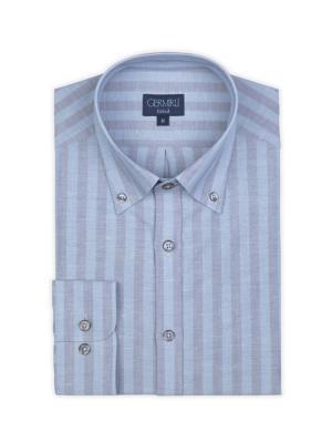 Germirli - Germirli Mavi Çizgili Keten Düğmeli Yaka Tailor Fit Gömlek (1)