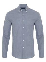 Germirli - Germirli Mavi Küçük Desenli Düğmeli Yaka Tailor Fit Gömlek