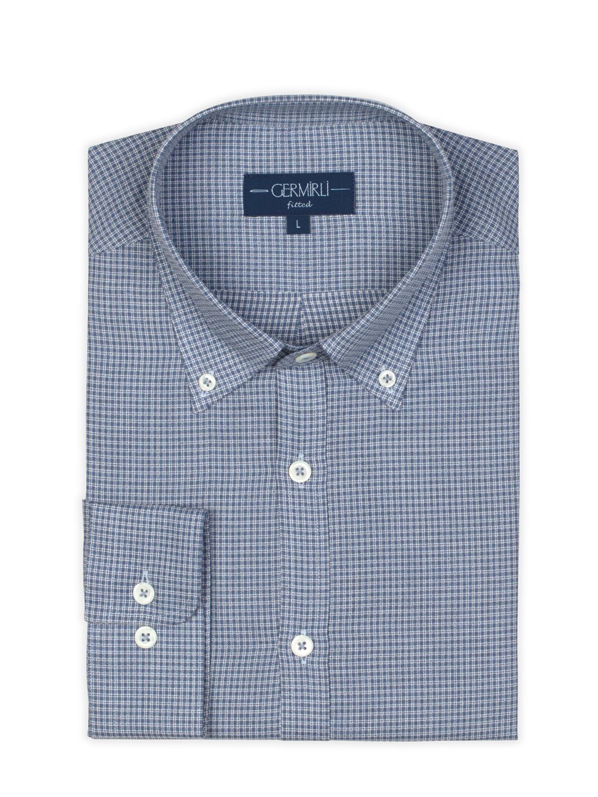 Germirli Mavi Küçük Desenli Düğmeli Yaka Tailor Fit Gömlek