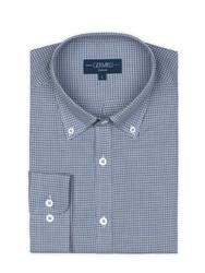 Germirli - Germirli Mavi Küçük Desenli Düğmeli Yaka Tailor Fit Gömlek (1)