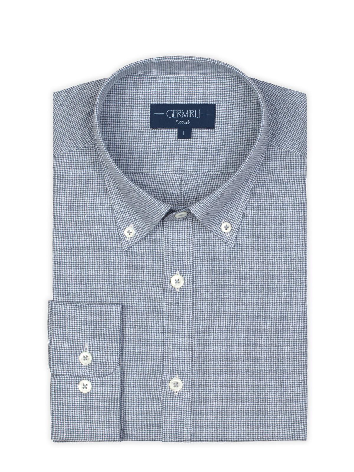 Germirli Mavi Desenli Düğmeli Yaka Tailor Fit Gömlek