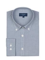 Germirli Mavi Desenli Düğmeli Yaka Tailor Fit Gömlek - Thumbnail