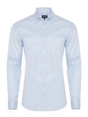 Germirli - Germirli Mavi Desenli Düğmeli Yaka Tailor Fit Gömlek