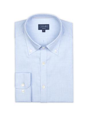 Germirli - Germirli Mavi Desenli Düğmeli Yaka Tailor Fit Gömlek (1)