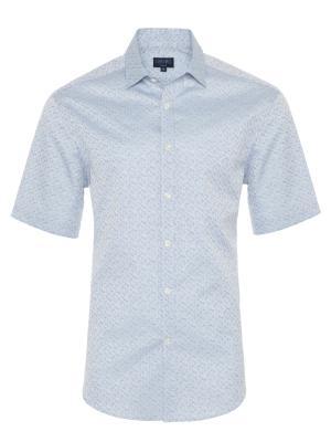 Germirli - Germirli Mavi Desenli Klasik Yaka Kısa Kollu Tailor Fit Gömlek
