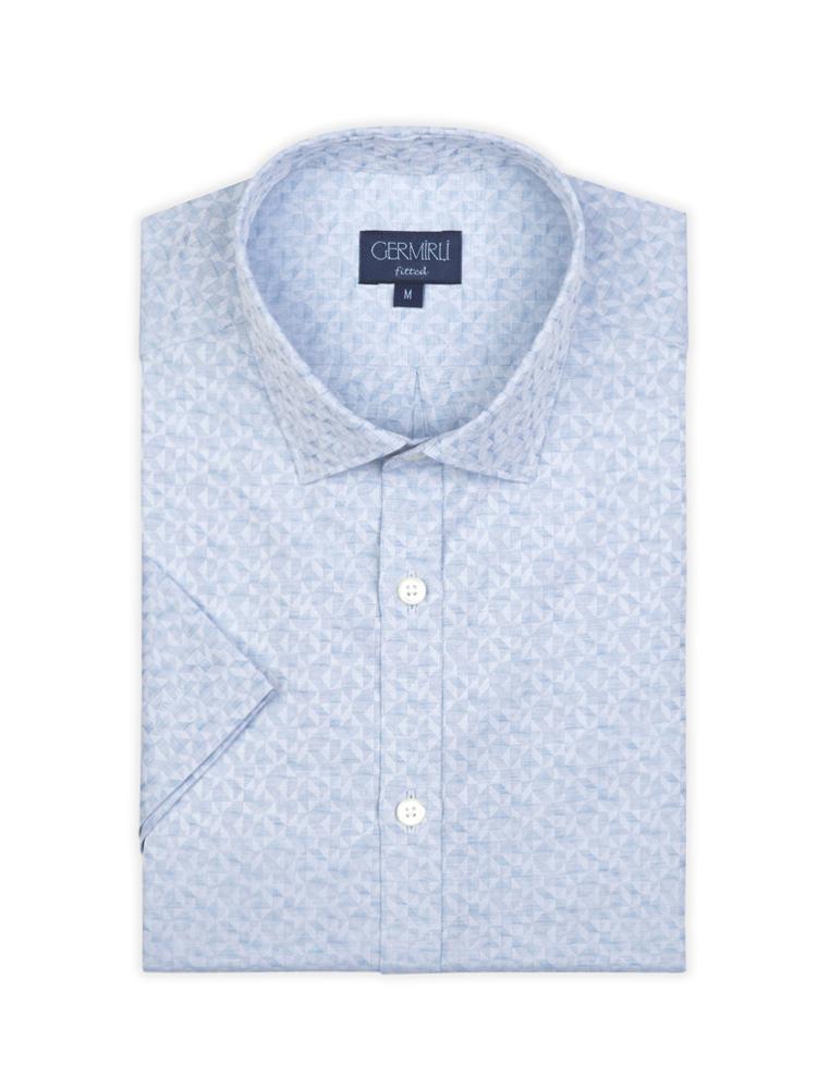 Germirli Mavi Desenli Klasik Yaka Kısa Kollu Tailor Fit Gömlek