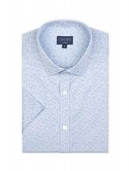Germirli Mavi Desenli Klasik Yaka Kısa Kollu Tailor Fit Gömlek - Thumbnail