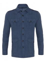 Germirli - Germirli Mavi Dokulu Delave Keten Tailor Fit Safari Ceket Gömlek (1)