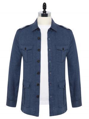 Germirli - Germirli Mavi Dokulu Delave Keten Tailor Fit Safari Ceket Gömlek