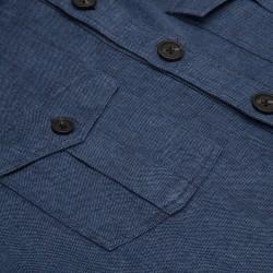 Germirli Mavi Dokulu Delave Keten Tailor Fit Safari Ceket Gömlek - Thumbnail