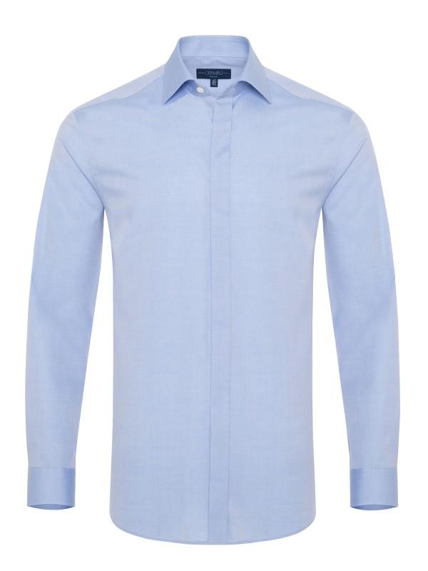 Germirli Mavi Dokulu Gizli Pat Klasik Yaka Tailor Fit Gömlek