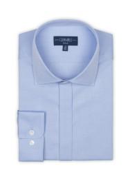 Germirli - Germirli Mavi Dokulu Gizli Pat Klasik Yaka Tailor Fit Gömlek (1)