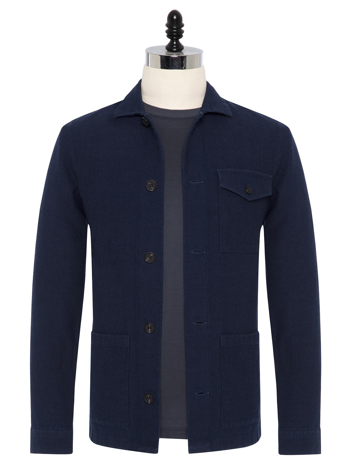 Germirli - Germirli Mavi Dokulu İndigo Tailor Fit Ceket Gömlek
