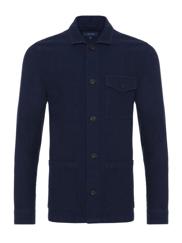Germirli - Germirli Mavi Dokulu İndigo Tailor Fit Ceket Gömlek (1)