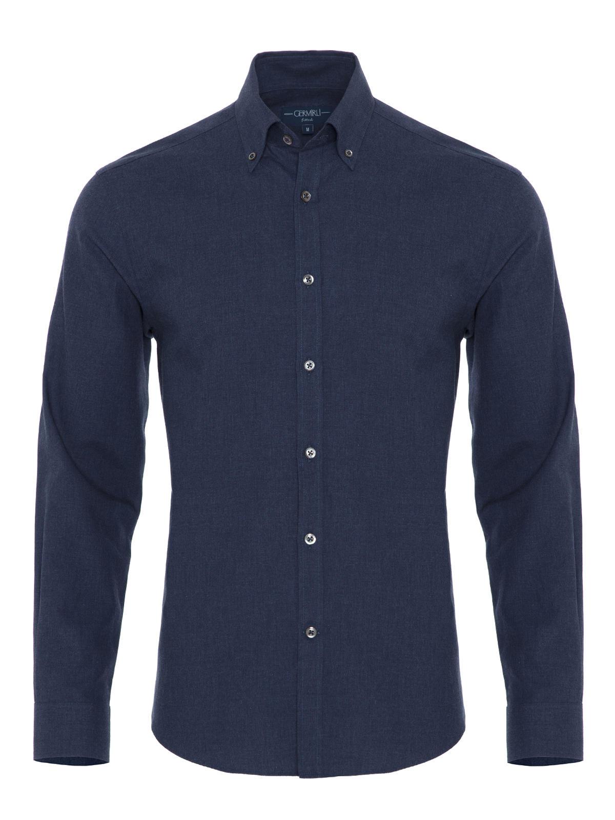 Germirli Mavi Düğmeli Yaka Flanel Tailor Fit Gömlek