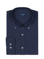 Germirli Mavi Düğmeli Yaka Flanel Tailor Fit Gömlek - Thumbnail
