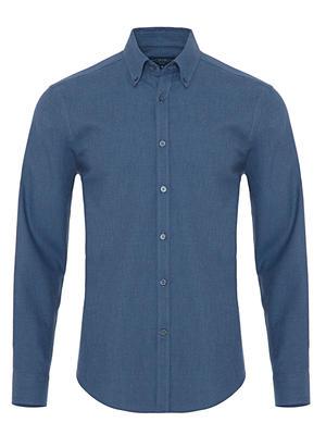 Germirli - Germirli Mavi Düğmeli Yaka Flanel Tailor Fit Gömlek