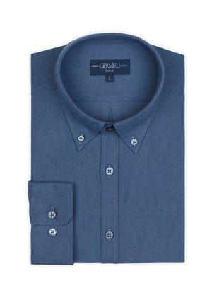 Germirli - Germirli Mavi Düğmeli Yaka Flanel Tailor Fit Gömlek (1)