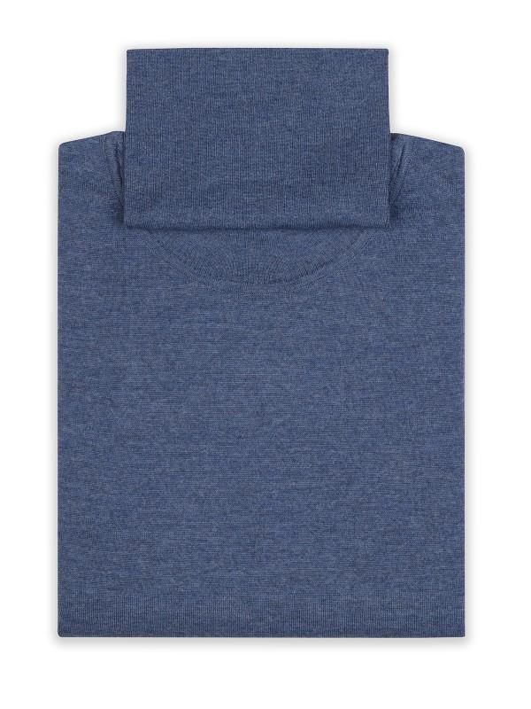 Germirli - Germirli Mavi Düz Balıkçı Extra Fine Yün Tailor Fit Triko (1)