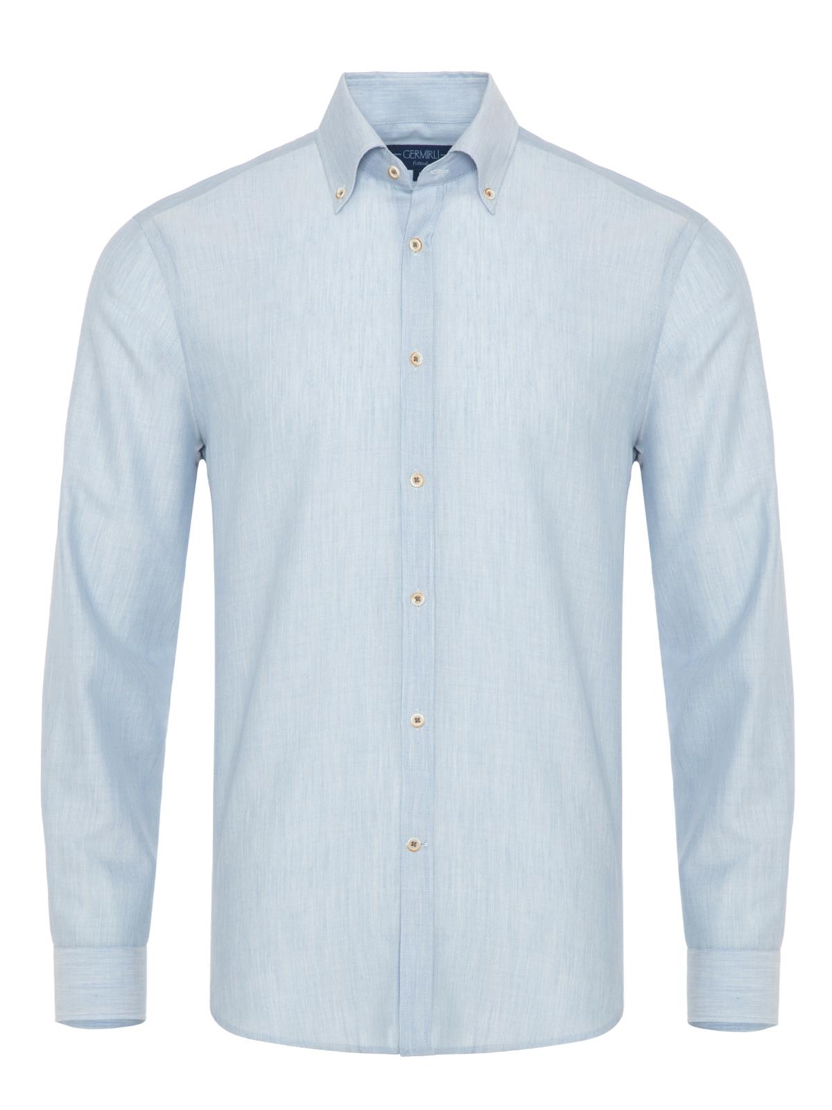 Germirli Mavi Yünlü Filafil Doku Düğmeli Yaka Tailor Fit Gömlek