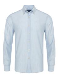 Germirli - Germirli Mavi Yünlü Filafil Doku Düğmeli Yaka Tailor Fit Gömlek