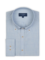 Germirli - Germirli Mavi Yünlü Filafil Doku Düğmeli Yaka Tailor Fit Gömlek (1)