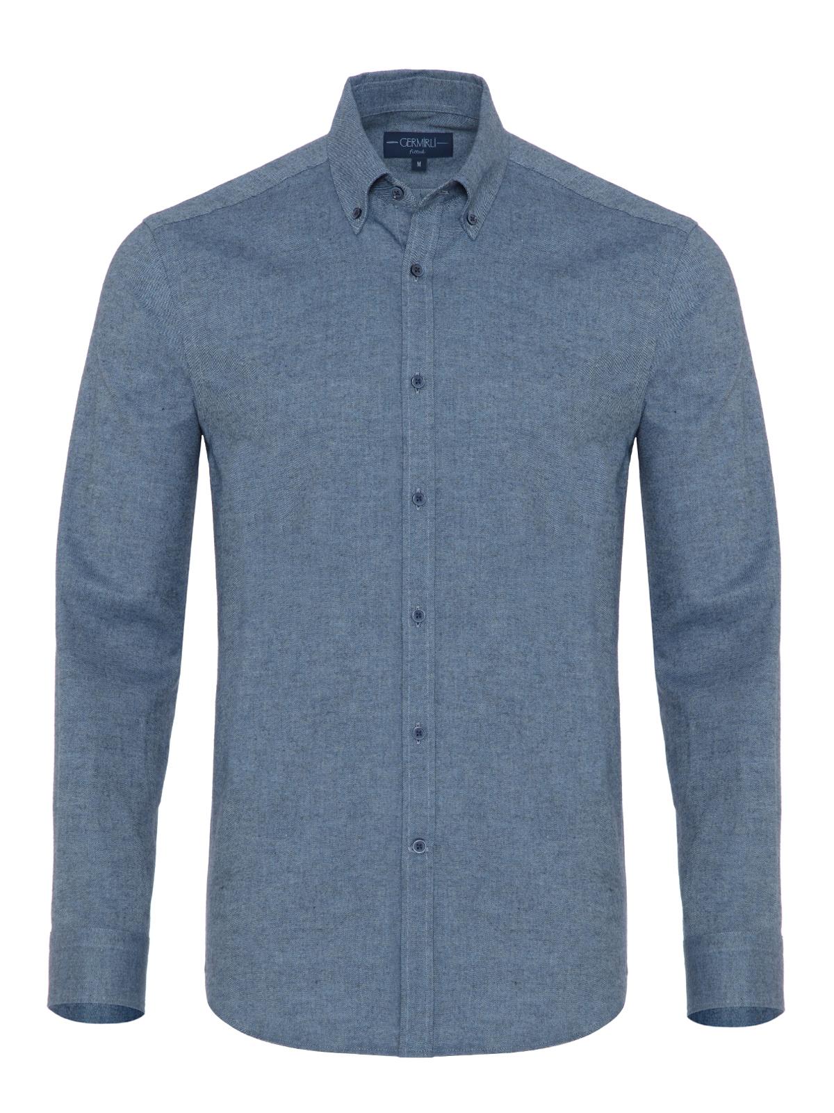 Germirli - Germirli Mavi Flanel Düğmeli Yaka Tailor Fit Gömlek