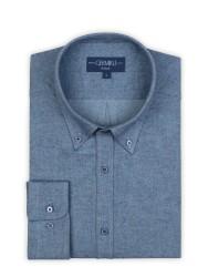 Germirli - Germirli Mavi Flanel Düğmeli Yaka Tailor Fit Gömlek (1)