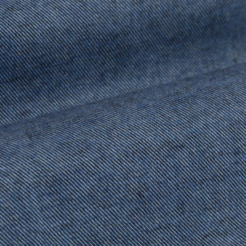 Germirli Mavi Flanel Düğmeli Yaka Tailor Fit Gömlek