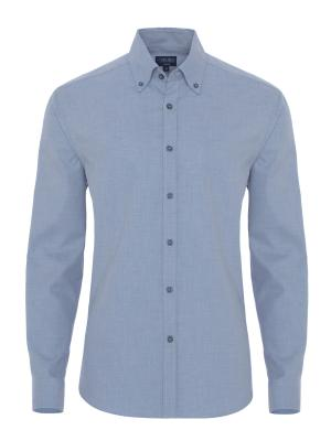 Germirli - Germirli Mavi Flanel Tailor Fit Gömlek