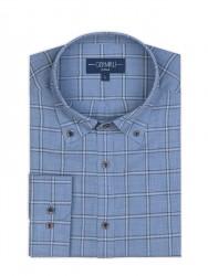 Germirli - Germirli Mavi Füme Geniş Kareli Düğmeli Yaka Tailor Fit Gömlek (1)