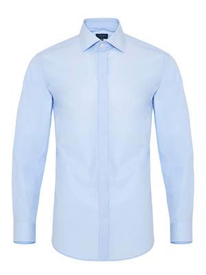 Germirli - Germirli Mavi Gizli Pat Klasik Yaka Tailor Fit Gömlek