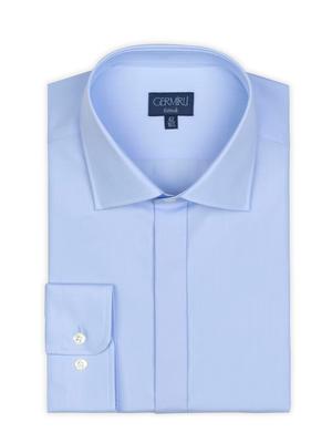 Germirli - Germirli Mavi Gizli Pat Klasik Yaka Tailor Fit Gömlek (1)