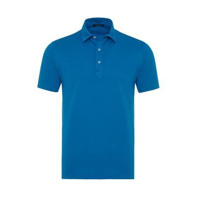 Germirli Mavi Gömlek Yaka Polo Piquet Tailor Fit T-Shirt