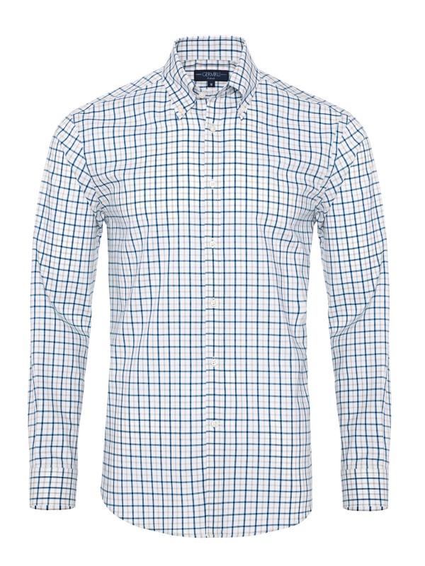 Germirli - Germirli Mavi Gri Beyaz Kareli Düğmeli Yaka Tailor Fit Yoga Gömlek