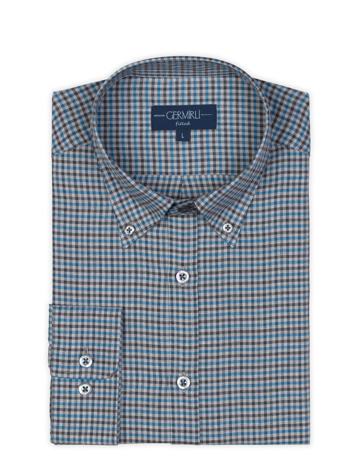 Germirli Mavi Gri Kareli Düğmeli Yaka Tailor Fit Gömlek