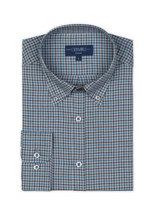 Germirli - Germirli Mavi Gri Kareli Düğmeli Yaka Tailor Fit Gömlek (1)